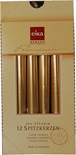 Eika Spitzkerzen 25x2,5cm gold, 12er Packung