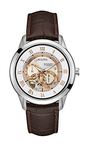 bulova-mens-designer-automatic-self-winding-watch-leather-strap-white-rose-gold-dial-96a172
