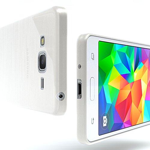 Samsung Galaxy Grand Prime Hülle - EAZY CASE Ultra Slim Cover Handyhülle - dünne Schutzhülle aus Silikon in Transparent Brushed Weiß
