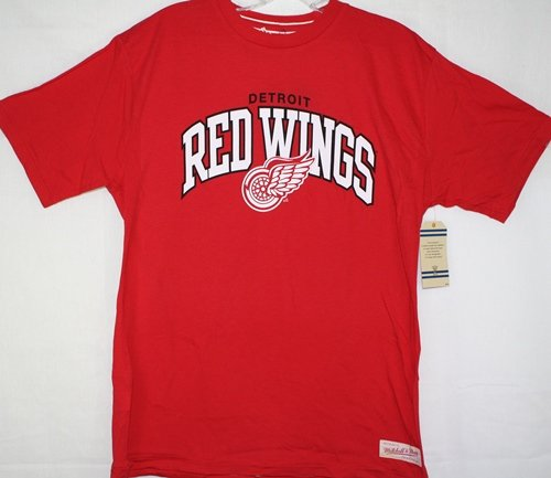 Detroit Red Wings Mitchell & Ness Red Vintage Team Name & Logo Premium T-Shirt (Vintage Red Wing)