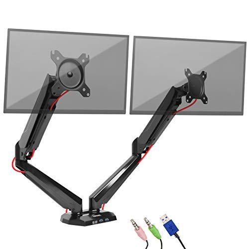 Preisvergleich Produktbild Duronic DMUSB5X2 Monitorhalteurng / Tischhalterung für einen LCD / LED Monitor mit Neig-,  Schwenk- und Rotierfunktion (+85° / -90 / 180° / 360°) mit Zwei USB- und Kopfhörerbuchsenanschluss