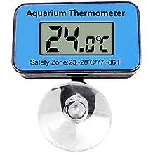 doutop Acuario Termómetro impermeable sumergible resistente Digital Pantalla LCD pantalla Termómetro con ventosa para Terrario Acuario Peces Vivarium 60303Agua