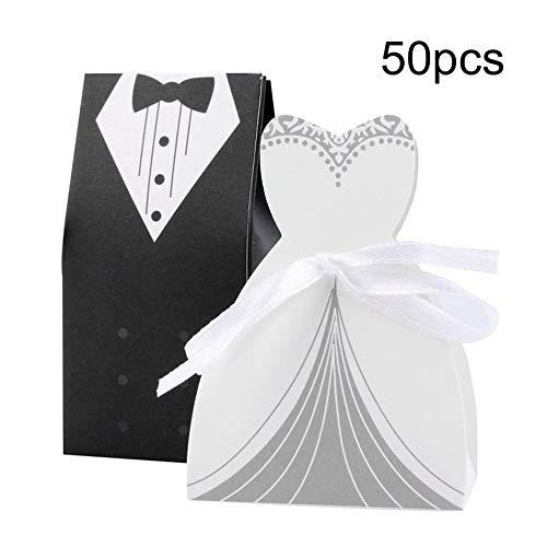 Geschenkbox Candy, Fancy Wedding Guest Geschenkbox mit Seidenband, Bräutigam Anzug Brautkleid...