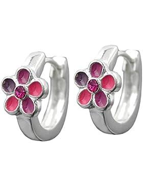 Kinderschmuck, Creole, Blume pink-rosa-lila und rosa Zirkonia, Silber 925