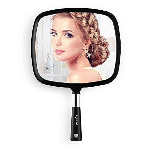 Espejo de Mano Maquillaje de Peluquería Profesional Salón, EASEHOLD Espejo Compacto Portátil para Viaje, Regalos Originales para Mujer(Negro)