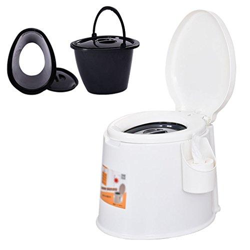 MyAou-commode Leichte und tragbare Camping-WC Geeignet für Indoor-und Outdoor-Loo Verwendung Camping Caravan Picknick Angeln und Festivals (Farbe : Weiß) -