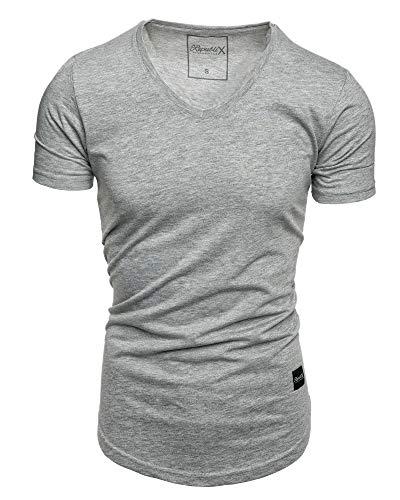 REPUBLIX Oversize Herren Slim-Fit V-Neck Basic Sommer T-Shirt V-Ausschnitt R-0004 Grau Melange M -