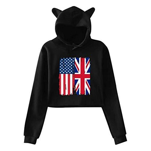 LXLING Womens Sexy Cat Ear Hoodie, American British Flag Midriff-Baring Hoodie