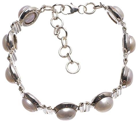 StarGems(tm) Natural River Pearl Handmade Vintage 925 Sterling Silver Tennis Bracelet 6-7 1/4