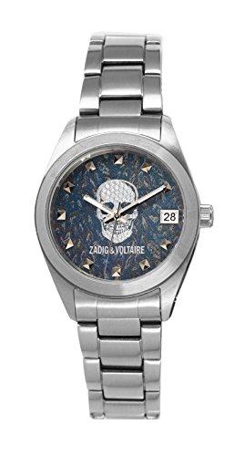 Zadig & Voltaire - ZVA 100/GM - Rock'Matic - Montre Femme - Automatique Analogique - Cadran Bleu - Bracelet Acier Argent