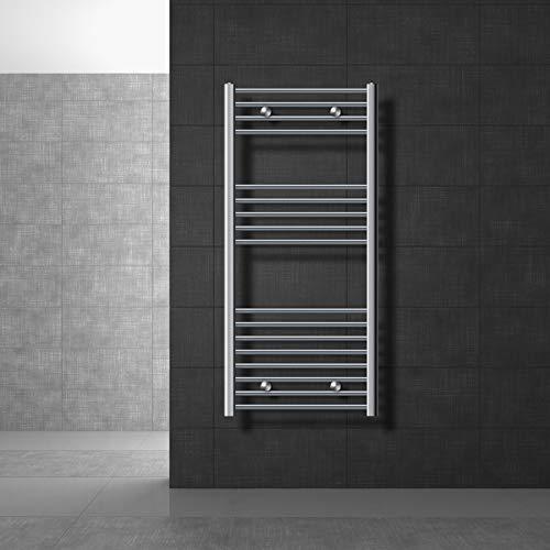 ECD Germany Radiador toallero de baño - 600 x 1200 mm - Cromado - curvado - con conexión lateral - Radiador toallero agua calefaccion