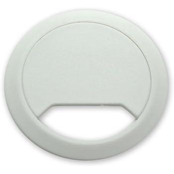 Emuca 3196321 Lot de 20 Passe-c/âbles ronds encastrables en Plastique pour table de bureau ⌀ 60 mm Gris