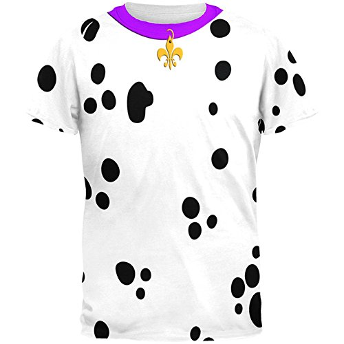Mardi Gras Hund Dalmatiner Kostüm lila Halsband Fleur De Lis aller Herren T Shirt Multi LG (Mardi Gras Hund Kostüme)
