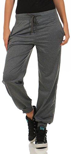 malito Damen Jogginghose im Classic Look | Sporthose in Unifarben | Baggy zum Tanzen | Sweatpants - Trainingshose H1206 (dunkelgrau, S)