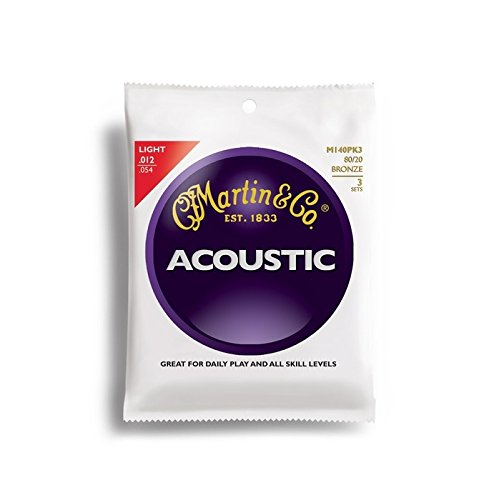 für Akustikgitarren 80/20 Bronze Stärke Light .012-.054 3 Sätze (Martin 12 String Akustik Gitarre)
