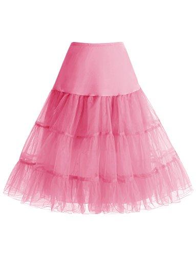 Gardenwed Damen Vintage 1950er Rockabilly kleid Mini Tutu Retro Petticoat Unterrock Pink