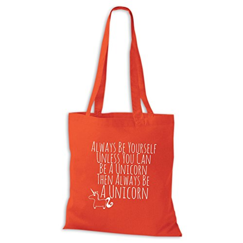 Baumwolltasche Jutebeutel Always Be Yourself Unless You Can Be Unicorn Einhorn Schwarz