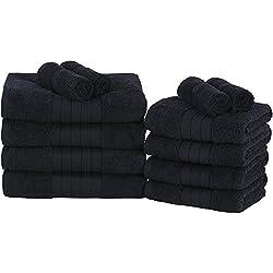 Dreamscene 100% Egipcio algodón Suave baño/Mano/Toallas de Cara de Bale Set, Aqua, Juego de 12, algodón, Negro, 29 x 30 x 26 cm
