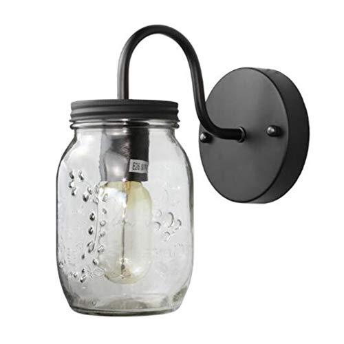 Billing Wandlampe Single Head LED Lampe Glas Mason Jar Schmiedeeiserne Glas E27 Lampe Küche Restaurant Wohnzimmer Korridor Gang (Ohne Glühbirne) Mason Jar Restaurant