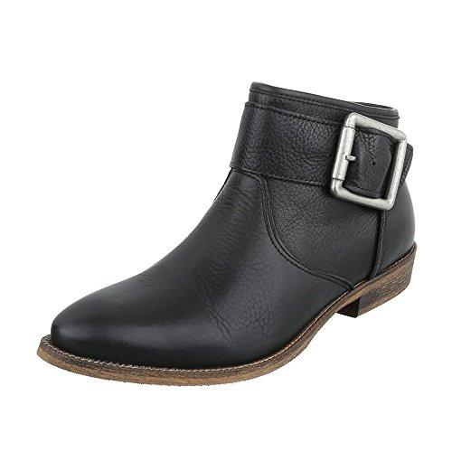 chelsea-boots-leder-damen-schuhe-chelsea-boots-blockabsatz-schnallen-deko-reiverschluss-ital-design-
