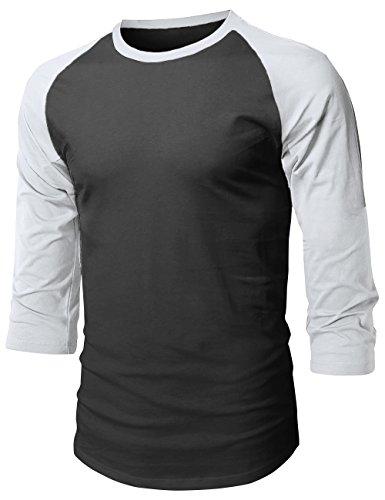 MX Herren Baseball Raglan 3/4 Ärmel Casual Basic Plain T-Shirt, Unisex-Erwachsene Herren, 1hc08_Black/White, Medium -