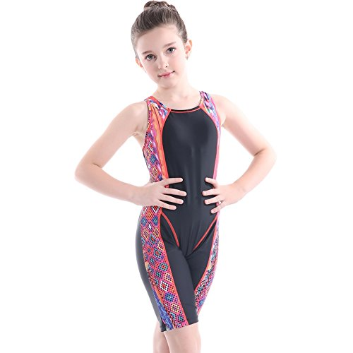 teiliger Badeanzug Knielangen Wettbewerbs Badebekleidung Bodys Professionelle Wettbewerb Schwimmen Kostüme Sonnenschutz Kleidung Alter 5-14 Jahre (Full Schwimmen Kostüme Für Mädchen)
