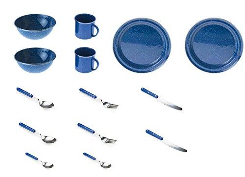 GSI Outdoors Pioneer Geschirr Set für 2 Personen, blau, 14-teilig