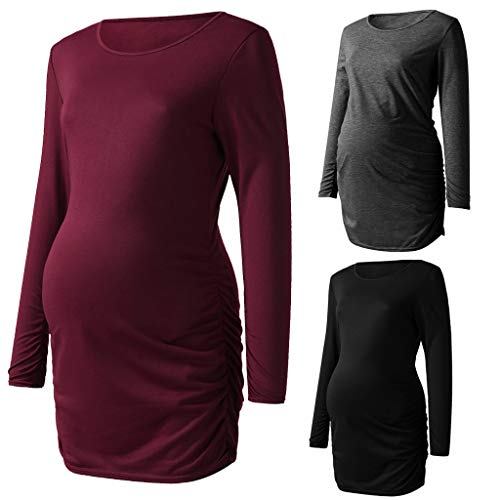 LSAltd 2019 Ausverkauf Frauen Simple Style Mutter Mutterschaft Tops Schmeichelhaft Seite Ruching Schwangerschaft T-Shirt Bluse Einfach zu füttern.