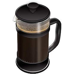 Utopia Kitchen [1,0 L/ 1000 ml] Cafetière à Piston | Français presse café - Expresso et bouilloire avec Triple filtres piston en acier inoxydable (Noir)