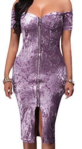 erdbeerloft - Damen Schulterfreies Slim Midikleid mit Reißverschluss, XS-XL, Viele Farben Flieder