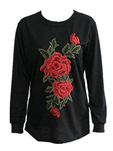 Gogofuture Felpa Ricamato Fiore Donna Eleganti Maglie Manica Lunga Sciolto Maglietta Sweatshirt Pullover Top Casual Black