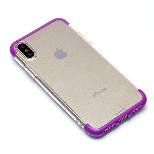 iPhone X Handycover, MOONMINI Ultra Dünn Transparent Soft TPU Silicone Stoßfest Slim Fit Handy Tasche Case Anti-Kratzer Schutzschale Anti-Drop Full Body Schutzhülle für iPhone X Schwarz Lila