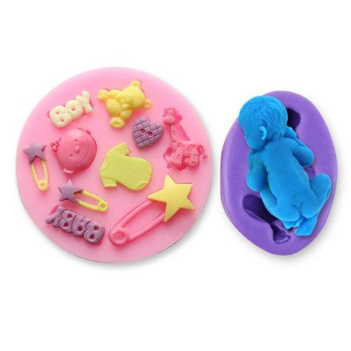 Silikon Baby Kinder Geburt Spielzeug Ausstechform Ausstecher Tortendeko Torten Deko Tortenrand Marzipan Fondant Hochzeit Party
