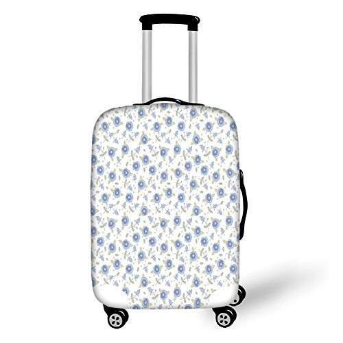Travel Luggage Cover Suitcase Protector,Floral,Flourishing Summer Rose Flowers in Blue Colors Leaves Dots,Light Yellow Baby Blue Violet Blue,for TravelL 25.9x37.8Inch - Baby Doll Top In Floral
