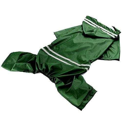 Haustier Hund Wasserdicht Polyester Regen Slicker Regenmantel Haustier Tuch Kleidung Welpen Hoodie Kleidung Mantel Bekleidung Zubehör für 50 cm Zurück Länge 4XL Grün (Regen Slicker Regenmantel)
