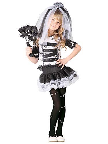 (Monster Braut Kostüm für Mädchen Gr. 98 - 146, Größe:110/116)