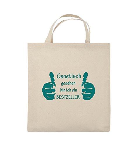 Buste Comiche - Geneticamente Bestzeller - Mani - Borsa Di Juta - Manico Corto - 38x42cm - Colore: Nero / Rosa Naturale / Turchese