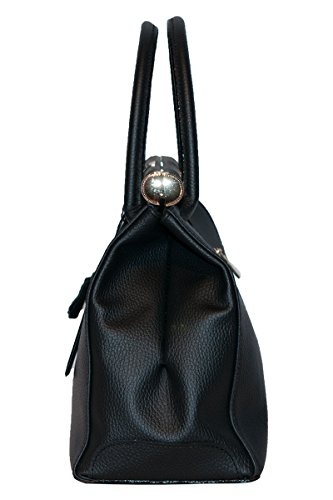BORDERLINE - 100% Made in Italy - Borsa rigida da Donna in Vera Pelle -MARY Nero