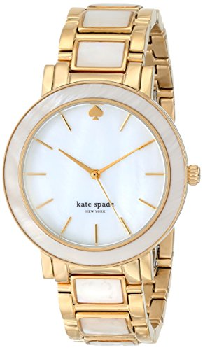 Kate Spade Women's 38mm Gold-Tone Steel Bracelet Gold Tone Steel Case Quartz MOP Dial Watch 1YRU0394