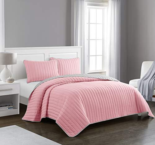 Pop Shop Rita Solid Reversible Lightweight Quilt Set, Twin, Pink
