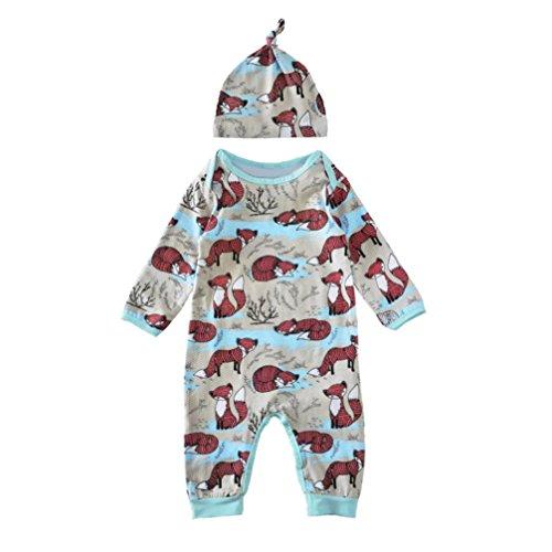 Bekleidung Longra Kleinkind Baby Kinder Füchse Print Set Baby Strampler Overall Bodysuit + Hut Kleiderset Outfit Kleidung (0 -24 Monate) (70CM 6Monate, Blue)