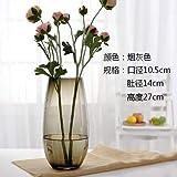 Willsego Glasvase Transparent Wohnzimmer Handwerk Große Blumengesteck Wasserkultur Apparat Dinosaurier Ei Eisblau Vase Smoky Gray Vase