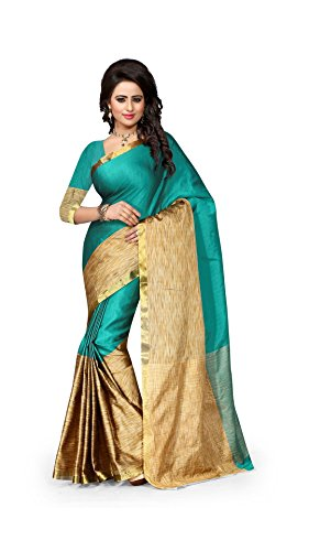 The Fashion Outlets Women's Cotton Silk Zari Jacquard Sarees(Free Size_Rama)