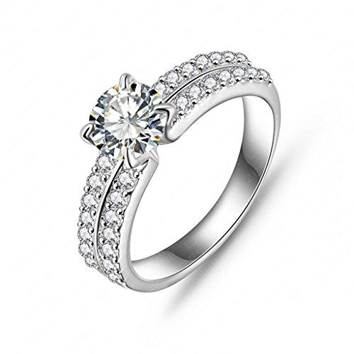 Daesar Joyería Anillo Compromiso de Plata Mujer, Brillantes Rialto con Diamantes Imitación Pavé Anillo de Eternidad, Tamaño 17