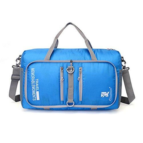 Zoomlie sport all' aperto Borsa pieghevole, impermeabile in nylon zaino, borsa a tracolla, 45* 20* 25cm, capacità l, blu, azzurro, rosa, rosso, verde, arancione, nero, viola, Blue