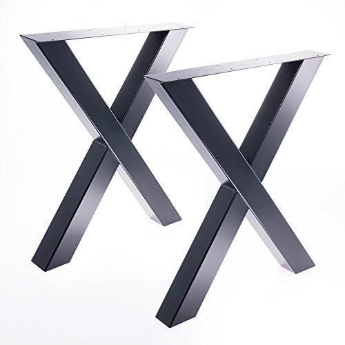 2 x Tischgestell in X Form schwarz Pulverbeschichtet