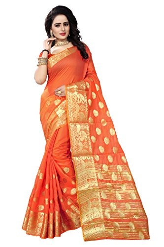 Ecolors Fab Women's Tussar Silk Saree (Gokul_Saree_Peach_Free Size)