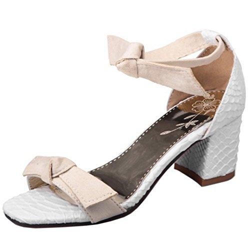 TAOFFEN Damen Mode Bogen Blockabsatz Sommer Sandalen mit Fesselriemen Beige