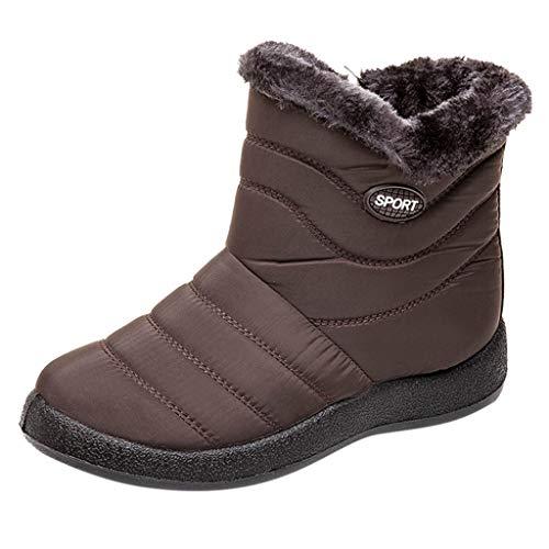 Yowablo Schlupfstiefel Damen Winter Schneeschuhe Winter Ankle Short Bootie wasserdichte Schuhe Warme Schuhe (35 EU,Braun)