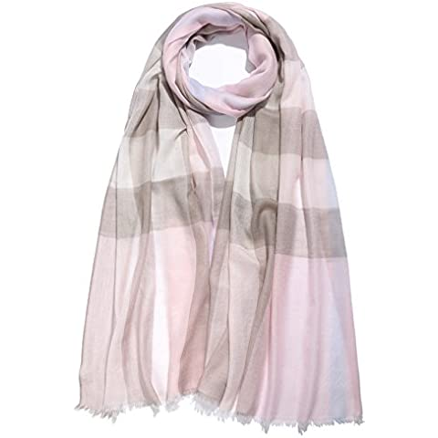 La signora scialle di cachemire puro pettinata sezione sottile autunno e inverno, sciarpe a quadri tinti in filo , gray